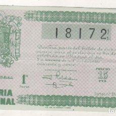 Lotería Nacional: LOTERIA NACIONAL SORTEO 31 DE 1945. Lote 206163407