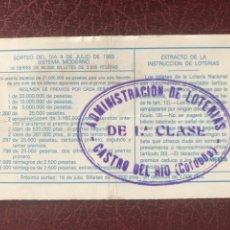 Lotería Nacional: LOTERIA ADMINISTRACIÓN CASTRO DEL RÍO (CORDOBA). Lote 206509033