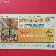 Lotería Nacional: LOTERIA NACIONAL DE MEXICO MEJICO AÑO 1987 , 6 DE NOVIEMBRE. Lote 206581880