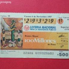 Lotería Nacional: LOTERIA NACIONAL DE MEXICO MEJICO AÑO 1987 , 6 DE NOVIEMBRE. Lote 206581911