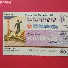 Lotería Nacional: LOTERIA NACIONAL DE MEXICO MEJICO AÑO 1987 , 13 DE NOVIEMBRE. Lote 206581983