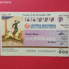 Lotería Nacional: LOTERIA NACIONAL DE MEXICO MEJICO AÑO 1987 , 13 DE NOVIEMBRE. Lote 206581988