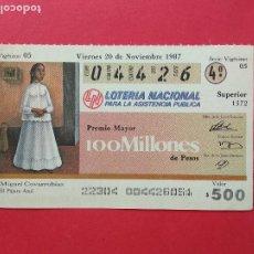 Lotería Nacional: LOTERIA NACIONAL DE MEXICO MEJICO AÑO 1987 , 20 DE NOVIEMBRE. Lote 206582042