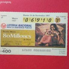 Lotería Nacional: LOTERIA NACIONAL DE MEXICO MEJICO AÑO 1987 , 24 DE NOVIEMBRE. Lote 206582096