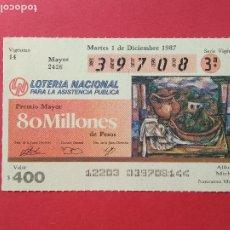 Lotería Nacional: LOTERIA NACIONAL DE MEXICO MEJICO AÑO 1987 , 1 DE DICIEMBRE. Lote 206582167