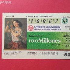 Lotería Nacional: LOTERIA NACIONAL DE MEXICO MEJICO AÑO 1987 , 4 DE DICIEMBRE. Lote 206582265