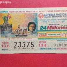 Lotería Nacional: LOTERIA NACIONAL DE MEXICO MEJICO AÑO 1985 , 31 DE MAYO. Lote 206582326