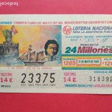 Lotería Nacional: LOTERIA NACIONAL DE MEXICO MEJICO AÑO 1985 , 31 DE MAYO. Lote 206582345
