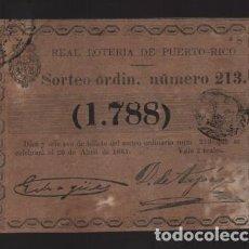 Lotería Nacional: REAL LOTERIA DE PUERTO RICO- SORTEO Nº 213. AÑO 1861- VER FOTO. Lote 206959531