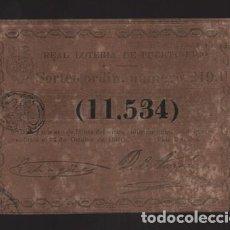 Lotería Nacional: REAL LOTERIA DE PUERTO RICO- SORTEO Nº 219. AÑO 1861- VER FOTO. Lote 206959671