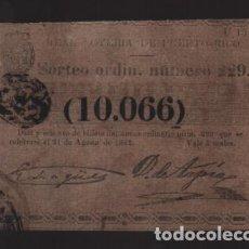 Lotería Nacional: REAL LOTERIA DE PUERTO RICO- SORTEO Nº 229. AÑO 1862- VER FOTO. Lote 206959820