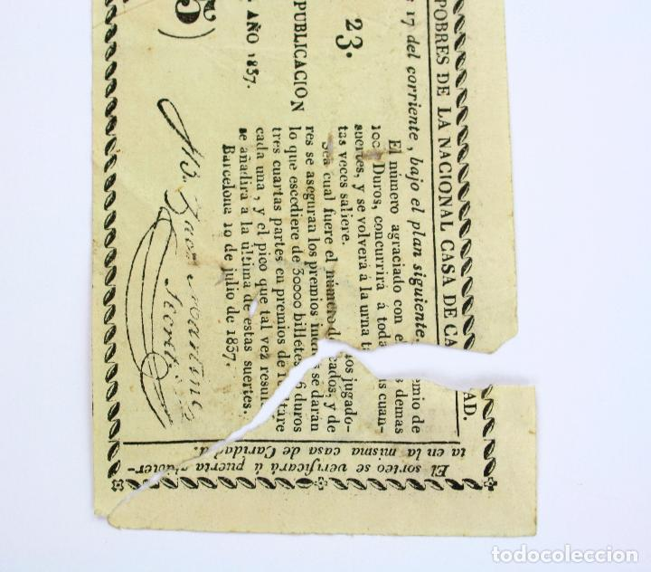 Lotería Nacional: LOTERÍA - RIFA REAL CASA DE CARIDAD DE BARCELONA - Año 1857. 20x7 cm. - Foto 3 - 207064582