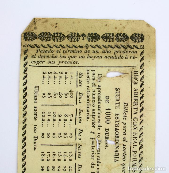 Lotería Nacional: LOTERÍA - RIFA REAL CASA DE CARIDAD DE BARCELONA - Año 1857. 20x7 cm. - Foto 4 - 207064582