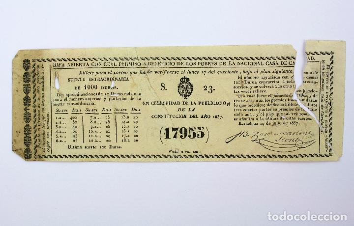 LOTERÍA - RIFA REAL CASA DE CARIDAD DE BARCELONA - AÑO 1857. 20X7 CM. (Coleccionismo - Lotería Nacional)