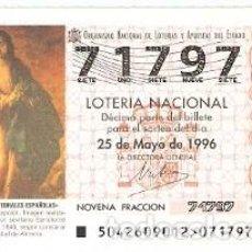 Lotería Nacional: DÉCIMO LOTERÍA NACIONAL SORTEO42 DE 1996. LA PURÍXIMA CONCEPCIÓN. ALMERIA. REF. 9-9642. Lote 207140512