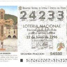 Lotería Nacional: DÉCIMO LOTERÍA NACIONAL, SORTEO 50 DE 1996. MONASTERIO DE SANTO TORIBIO. REF. 9-9650. Lote 207140836