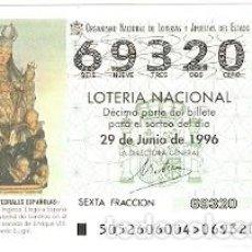 Lotería Nacional: DÉCIMO LOTERÍA NACIONAL, SORTEO Nº 52 DE 1996. NUESTRA SEÑORA LA INGLESA. MONDOÑEDO. LUGO. 9-9652. Lote 207140947