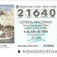 Lotería Nacional: DÉCIMO LOTERÍA NACIONAL, SORTEO 54 DE 1996. CÁDIZ Y EL MAR. REF. 9-9654. Lote 207141137