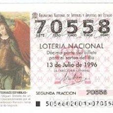 Lotería Nacional: DÉCIMO LOTERÍA NACIONAL, SORTEO Nº 56 DE 1996. EL ARCÁNGEL SAN MIGUEL. SEGOVIA. REF. 9-9656. Lote 207141261