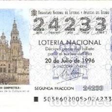 Lotería Nacional: DÉCIMO LOTERÍA NACIONAL, SORTEO Nº 58 DE 1996. SANTIAGO DE COMPOSTELA. REF. 9-9658. Lote 207141355
