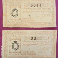 Lotería Nacional: 2 BILLETES LOTERIA NACIONAL SORTEO Nº 25 DE SEPTIEMBRE 1927 Nº 13311. Lote 207192672