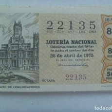 Lotería Nacional: DECIMO DE LOTERIA DEL 26 DE ABRIL DE 1975 : PALACIO DE COMUNICACIONES. Lote 207209253