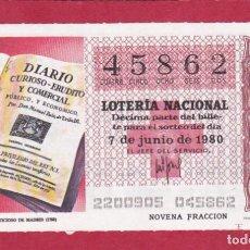 Lotería Nacional: LOTERIA SORTEO 22 DE 1980 CRUZ ROJA. Lote 207211817