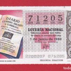 Lotería Nacional: LOTERIA SORTEO 22 DE 1980 CRUZ ROJA. Lote 207211967