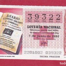 Lotería Nacional: LOTERIA SORTEO 22 DE 1980 CRUZ ROJA. Lote 207212120