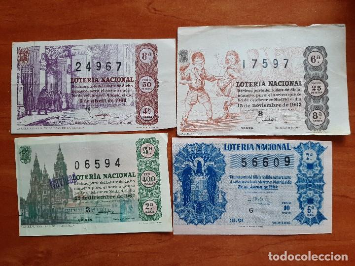 1954 - 1963 CUATRO BILLETES DE LOTERÍA (Coleccionismo - Lotería Nacional)