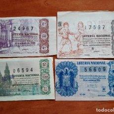 Lotería Nacional: 1954 - 1963 CUATRO BILLETES DE LOTERÍA. Lote 207362003