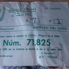 Lotería Nacional: PAPELETA SOBRE NUMERO LOTERIA AÑO 1986 ---- NUMERO 71825. Lote 207922175