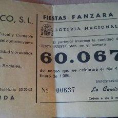 Lotería Nacional: PAPELETA SOBRE NUMERO LOTERIA AÑO 1986 ---- NUMERO 60067. Lote 207922376