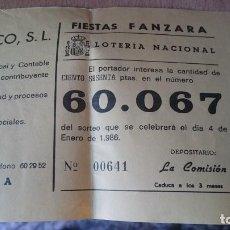 Lotería Nacional: PAPELETA SOBRE NUMERO LOTERIA AÑO 1986 - NUMERO 60067. Lote 207922570