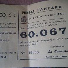 Lotería Nacional: PAPELETA SOBRE NUMERO LOTERIA AÑO 1986 - - - NUMERO 60067. Lote 207924052