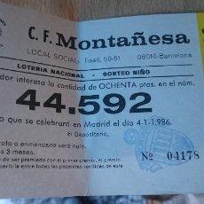 Lotería Nacional: PAPELETA SOBRE NUMERO LOTERIA AÑO 1986 -- - - NUMERO 44592. Lote 207924980