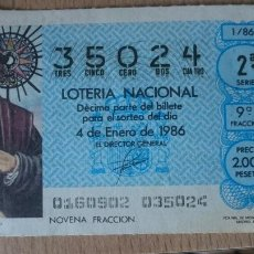 Lotería Nacional: ANTIGUO DECIMO LOTERIA AÑO 1986 - NUMERO 35024. Lote 207937330