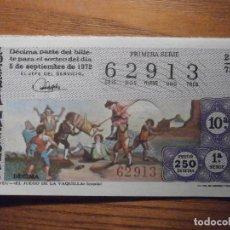 Loterie Nationale: LOTERÍA NACIONAL - DÉCIMO Nº 62915 - BAYEU, JUEGO LA VAQUILLA - SORTEO 28/72 DEL 5-SEPTIEMBRE-1972. Lote 208192632