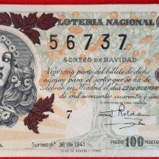 Lotería Nacional: DECIMO LOTERIA NACIONAL SORTEO 36 22 DICIEMBRE 1941 ORIGINAL. Lote 209584930