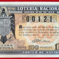 Lotería Nacional: DECIMO LOTERIA NACIONAL SORTEO 36 22 DICIEMBRE 1939 ORIGINAL. Lote 209585156