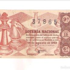 Lotería Nacional: DÉCIMO DE LA LOTERÍA NACIONAL DE 26 DE AGOSTO DE 1963 SORTEO 24. ADMINISTRACIÓN 2 DE IGUALADA (63-24. Lote 209955016