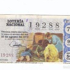 Lotería Nacional: DÉCIMO DE LA LOTERÍA NACIONAL. SORTEO Nº 27 DE 1972. NÚMERO 19288.. Lote 210120880