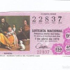 Lotería Nacional: DÉCIMO DE LA LOTERÍA NACIONAL. SORTEO Nº 11 DE 1972. NÚMERO 22837.. Lote 210120923