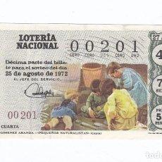 Lotería Nacional: DÉCIMO DE LA LOTERÍA NACIONAL. SORTEO Nº 27 DE 1972. NÚMERO 00201.. Lote 210121073