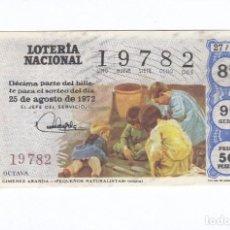 Lotería Nacional: DÉCIMO DE LA LOTERÍA NACIONAL. SORTEO Nº 27 DE 1972. NÚMERO 19782.. Lote 210121120