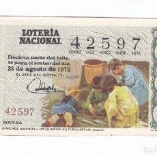Lotería Nacional: DÉCIMO DE LA LOTERÍA NACIONAL. SORTEO Nº 27 DE 1972. NÚMERO 42597.. Lote 210121205