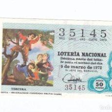 Lotería Nacional: DÉCIMO DE LA LOTERÍA NACIONAL. SORTEO Nº 8 DE 1972. NÚMERO 35145.. Lote 210121275