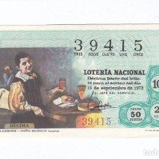 Lotería Nacional: DÉCIMO DE LA LOTERÍA NACIONAL. SORTEO Nº 29 DE 1972. NÚMERO 39415.. Lote 210121340
