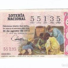 Lotería Nacional: DÉCIMO DE LA LOTERÍA NACIONAL. SORTEO Nº 27 DE 1972. NÚMERO 55135.. Lote 210121418