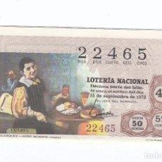 Lotería Nacional: DÉCIMO DE LA LOTERÍA NACIONAL. SORTEO Nº 29 DE 1972. NÚMERO 22465.. Lote 210121688